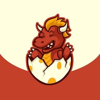 Bruteier baby drache mit horn niedlichen maskottchen illustration