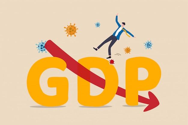 Bruttoinlandsprodukt, bip-rückgang aufgrund des covid-19-coronavirus-ausbruchs weltweites konzept der wirtschaftlichen rezession, geschäftsmann fällt vom bip des großen alphabets mit rotem pfeil nach unten und viruspathogen.