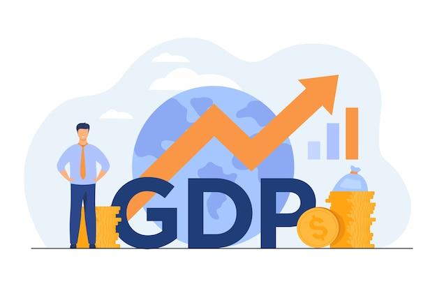 Bruttoinlandsproduktkonzept. wachstumspfeilkarte mit globus, geldstapeln, glücklicher kleiner profi.