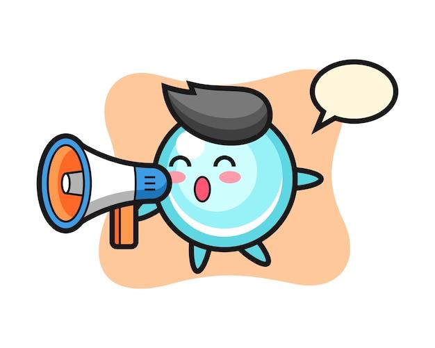 Bubble-charakterillustration, die ein niedliches stildesign des megaphons hält