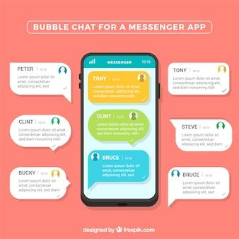 Bubble-chat für messenger-anwendung im flachen stil