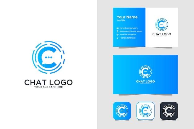 Bubble chat mit buchstabe c logo design und visitenkarte