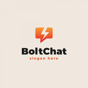 Bubble chat mit thunder bolt icon logo vorlage. vektorillustration
