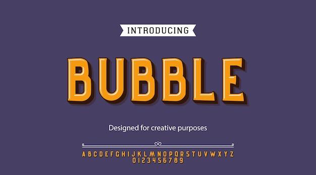 Bubble-schrift. für etiketten und verschiedene schriftarten