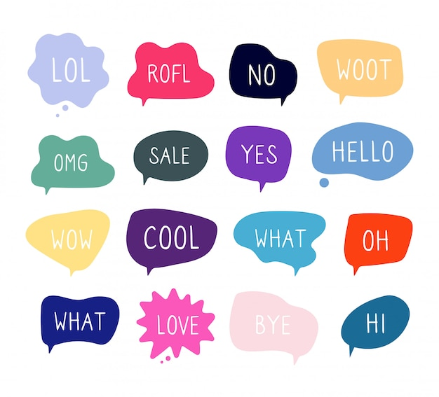 Bubble talk phrasen. online-chat-wolken mit verschiedenen wörtern kommentieren informationsformen