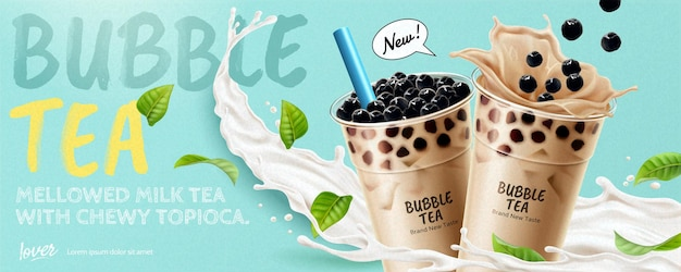 Bubble tea bannerwerbung mit spritzender milch und grünen blättern, 3d-darstellung
