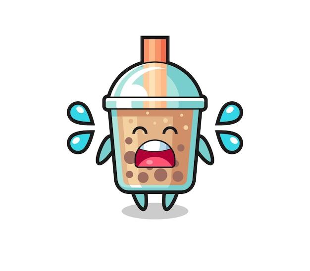 Bubble tea cartoon illustration mit weinender geste, süßes design für t-shirt, aufkleber, logo-element