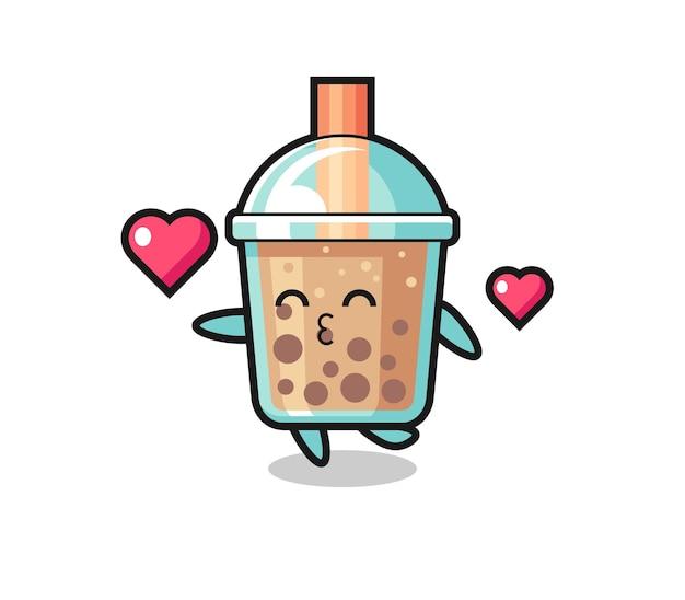 Bubble tea charakter cartoon mit küssender geste, süßes design für t-shirt, aufkleber, logo-element