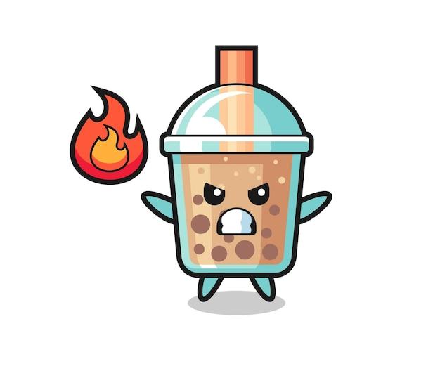 Bubble tea charakter cartoon mit wütender geste, süßes design für t-shirt, aufkleber, logo-element