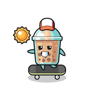 Bubble tea charakter illustration fahrt auf einem skateboard, süßes design für t-shirt, aufkleber, logo-element