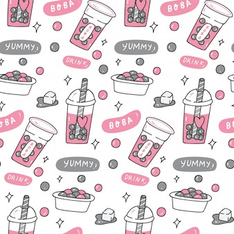 Bubble tea doodle nahtloses muster