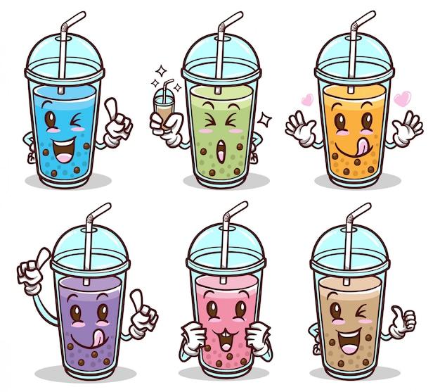 Bubble tea drink niedlichen aufkleber gesetzt