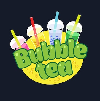 Bubble tea-konzept-logo