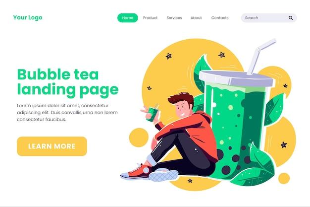 Bubble tea landing page style