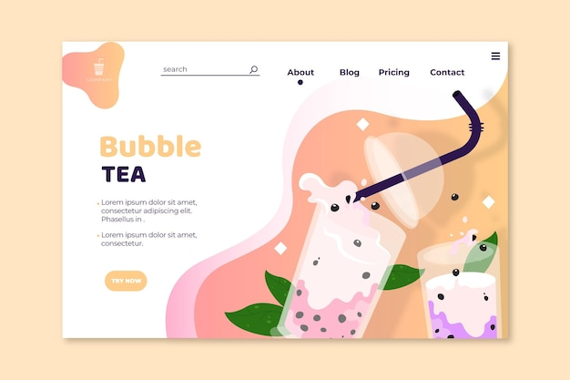 Bubble tea landing page vorlage