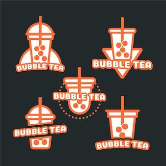 Bubble tea logo sammlung Premium Vektoren