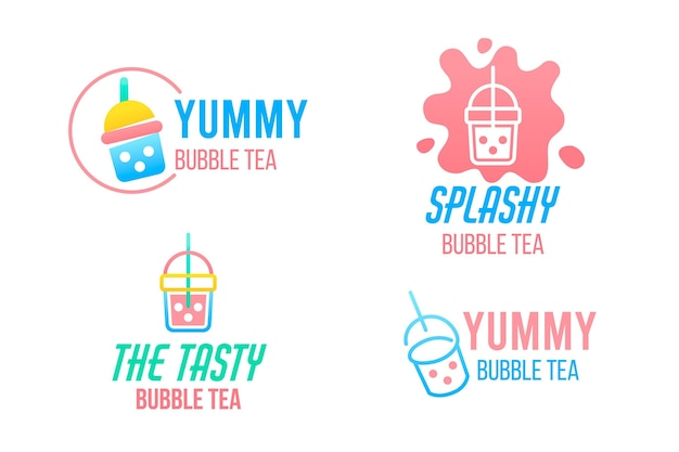 Bubble tea logo sammlung