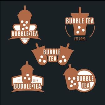 Bubble tea logo set