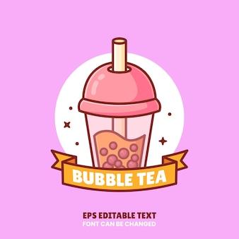 Bubble tea logo vektor icon illustration im flat style premium isoliert getränk logo