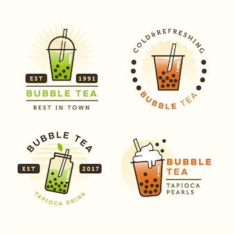 Bubble tea logo vorlage set