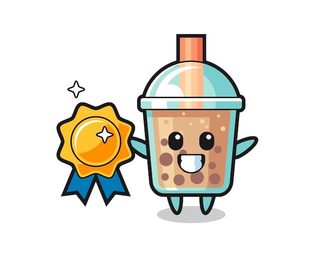 Bubble tea maskottchen illustration mit goldenem abzeichen, süßes design für t-shirt, aufkleber, logo-element