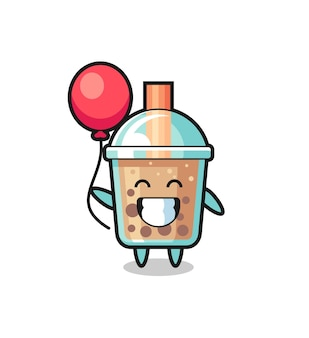 Bubble tea maskottchen illustration spielt ballon, niedliches design für t-shirt, aufkleber, logo-element