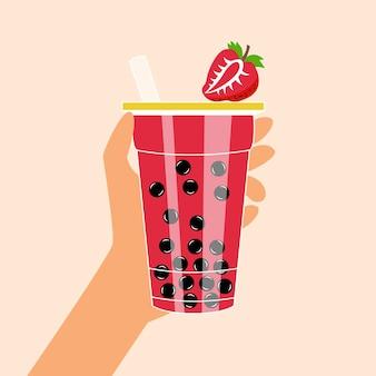Bubble tea mit tapioka und erdbeeren