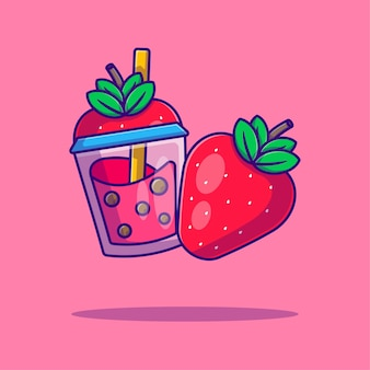 Bubble tea und erdbeercartoon