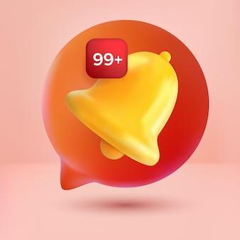 Bubbles chat-benachrichtigungsnachricht glocke süße symbolwarnung und alarm auf rosa hintergrund