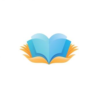 Buch bildung und hand logo