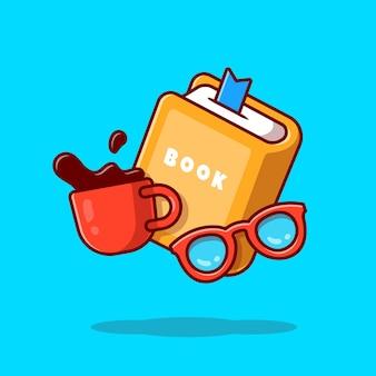 Buch, brille und tasse kaffee cartoon