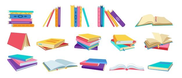 Buch-cartoon-set. handgezeichnete leere lehrbücher, gebundene bücher, leere seiten für die bibliothek. lesen, lernen und bildung durch büchersammlung erhalten