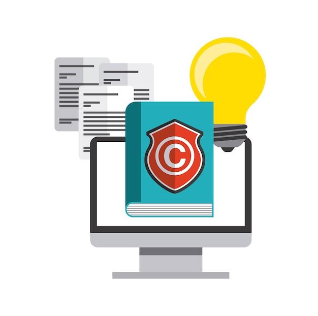 Buch, computer und c-symbol. urheberrecht design. vektorgrafik