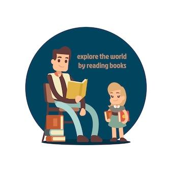 Buch des jungen mannes lesezur vektorillustration des kleinen mädchens