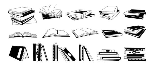 Buch glyph cartoon set. handgezeichnete monochrome lehrbücher, gebundene bücher, gliederungsseiten für die bibliothek. lesen, lernen und bildung durch büchersammlung erhalten. auf weißem hintergrund