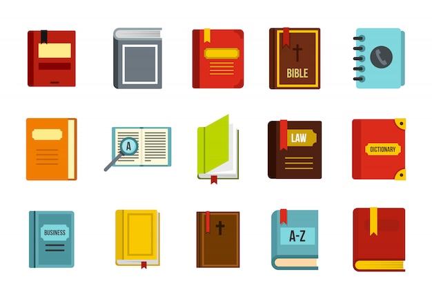 Buch-icon-set. flacher satz der buchvektor-ikonensammlung lokalisiert