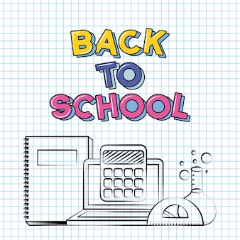 Buch, laptop, taschenrechner, back to school doodle auf einem rasterblatt gezeichnet