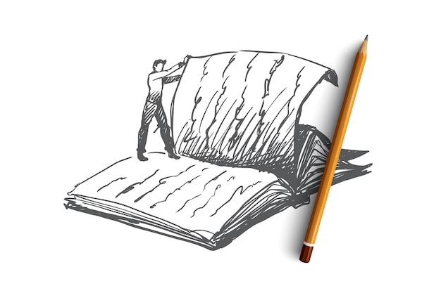 Buch, lesen, bibliothek, lesekonzept. hand gezeichnete person, die auf riesenbuch und daumen seite konzeptskizze steht.