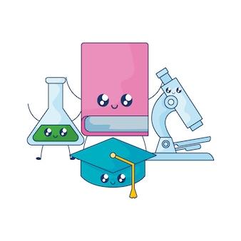 Buch mit hut abschluss und mikroskop kawaii-stil