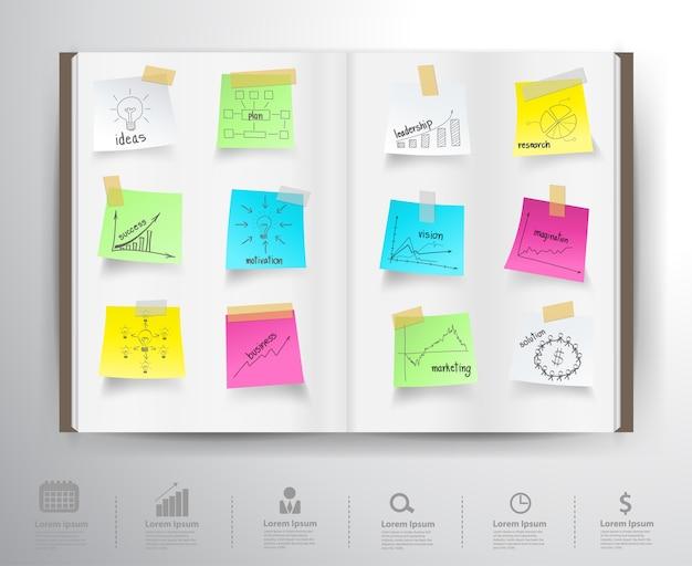 Buch mit zeichnungsdiagrammen und -diagramms-erfolgsgeschäftsstrategieplan