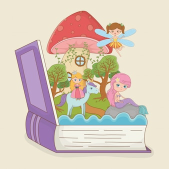 Buch offen mit märchenhafter meerjungfrau mit prinzessin im einhorn
