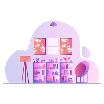 Buch-show-betriebswohnzimmerillustration