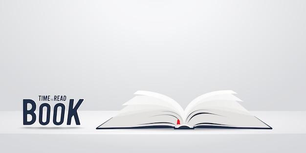 Buch über weißem regal oder tischillustration