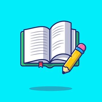 Buch und bleistift icon illustration. bildungskonzept isoliert.