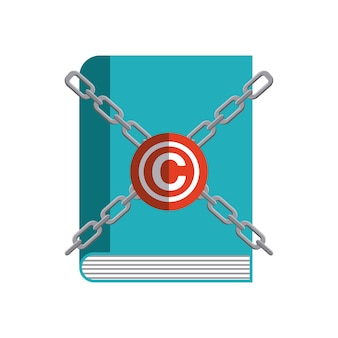 Buch und c-symbol. urheberrecht design. vektorgrafik