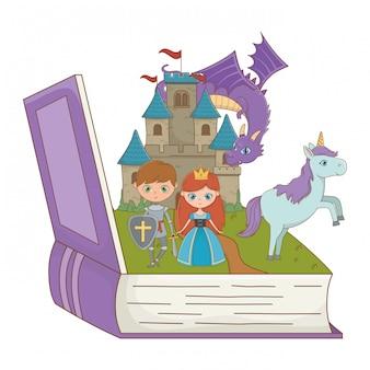 Buch und charakter von märchen entwerfen vektorillustration