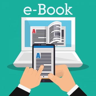 Buch- und e-learning-ikonendesign