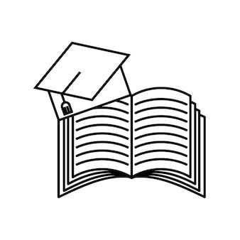 Buch und graduierung hut symbol