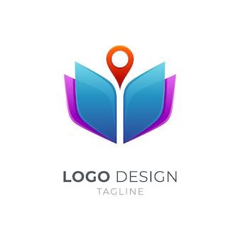Buch- und pin-logo-konzept