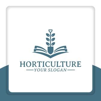 Buch- und schaufellogo-designvektorblattnaturschule für landwirtschaftliche bildung
